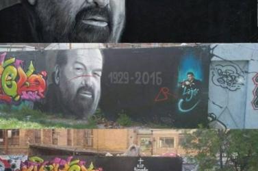Eltűnt Bud Spencer magyarországi graffitiportréja