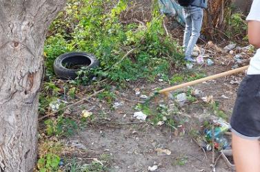 Dunaszerdahelyi diákok tisztították meg a szeméttől az iskolájukhoz vezető utat
