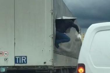 Felvágták a ponyvát, majd három fickó ugrott le a kamion pótkocsijáról (videó)