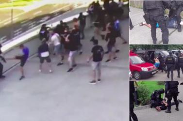 Rendőrökre támadtak a Slovan szurkolói a hétvégi bajnoki előtt (VIDEÓ)