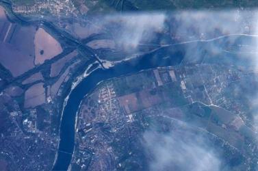 Az űrből is látszik, mennyire alacsony a Duna vízállása Párkánynál