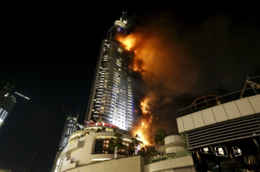 Óriási tűz pusztított egy dubaji luxusszállodában