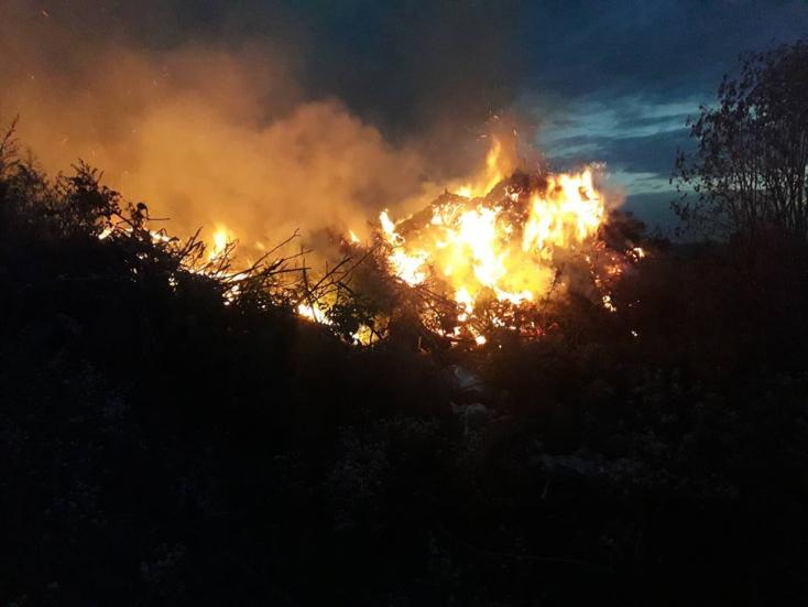 Tűzdombot oltottak a lakszakállasi önkéntes tűzoltók (FOTÓK)