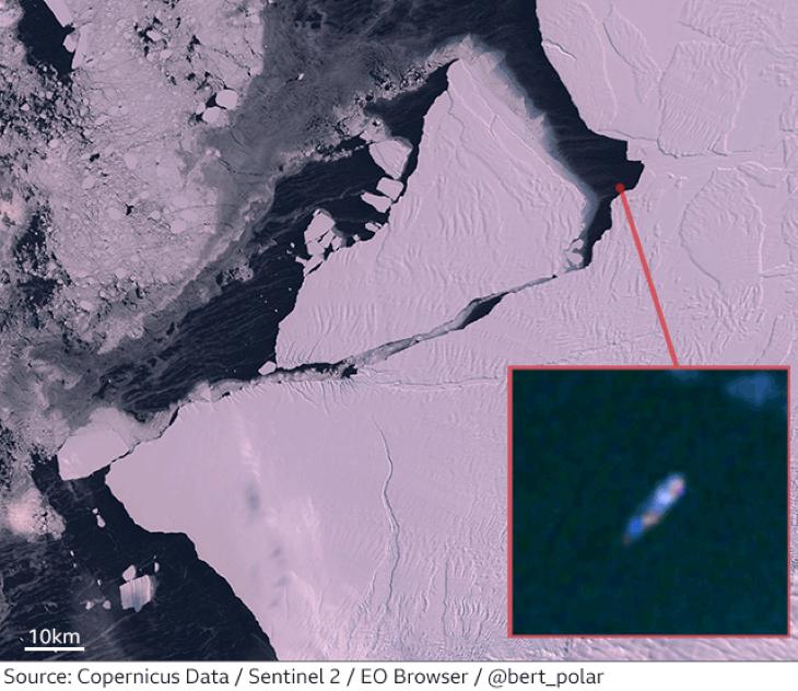 Körbehajózta a gigantikus A74 antarktiszi jéghegyet egy német kutatóhajó