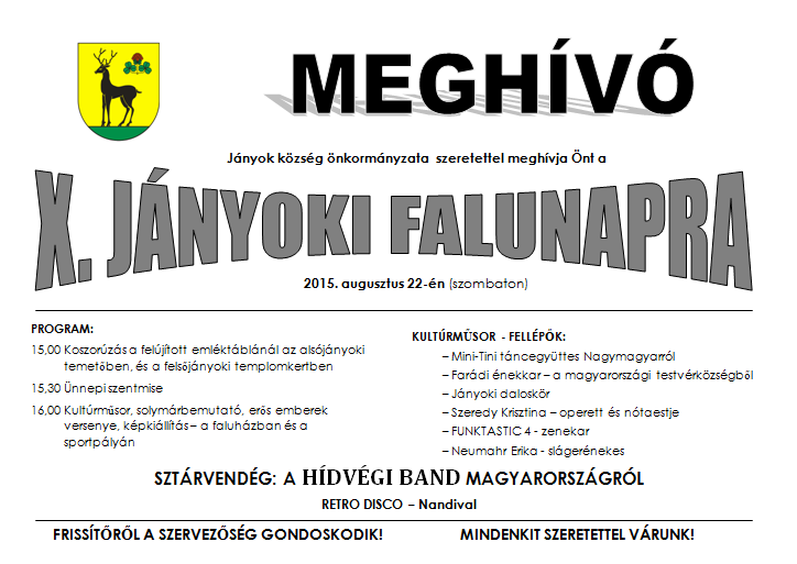 A Hídvégi Band is fellép a hétvégi Jányoki Falunapon