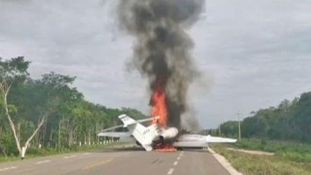 Több száz kilogramm drogot találtak Mexikóban egy lángokban álló kisrepülőgép közelében