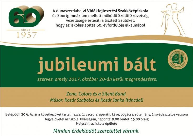 Jubileumi bál a dunaszerdahelyi Vidékfejlesztési Szakközépiskola és Sportgimnáziumban
