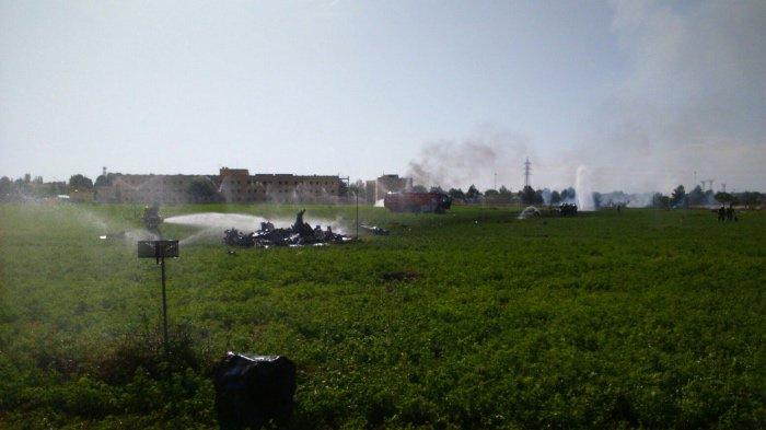 Lezuhant egy vadászrepülő a spanyol nemzeti ünnepen tartott katonai felvonulás után