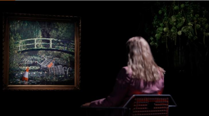 Több mint 8 millió eurónyi fontért kelt el Banksy Monet-paródiája