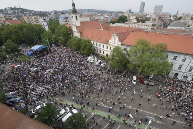 Az SaS foglalta le az SzNF teret a Kuciak-gyilkosság évfordulójára